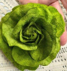 """New Millinery Flower 4"""" Velvet 1pc Hair Accessory Kiwi Clip/ Pin"""