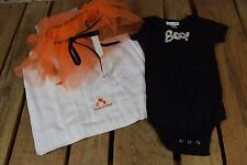 """Halloween """"Trick or Treat"""" Baby Blanket and """"Boo"""" 6-12 Month Old Onesie and Tutu"""
