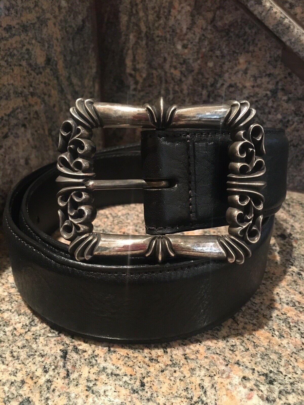 Authentic Chrome Hearts Classic/Scroll Buckle with Black Leather Belt