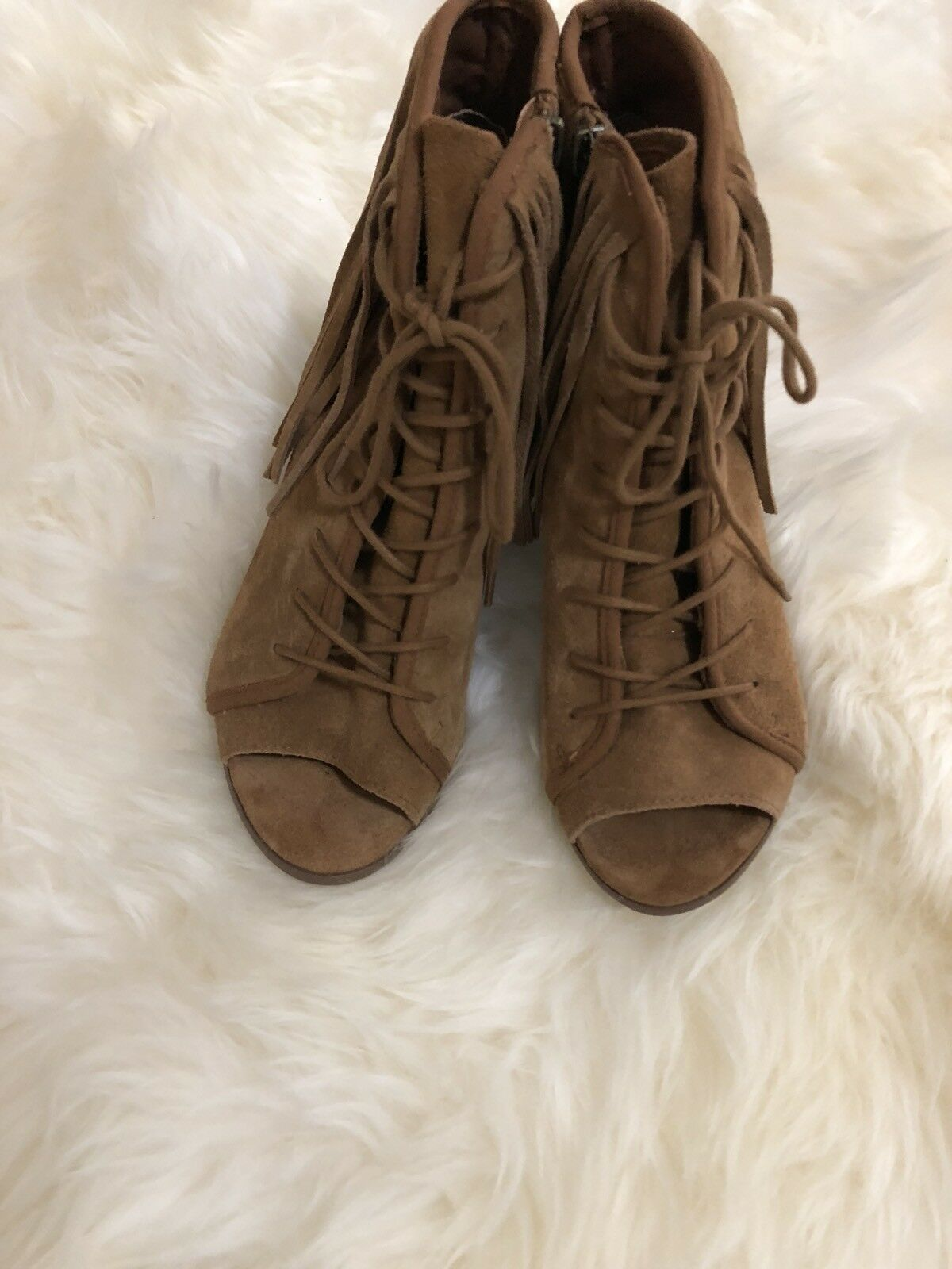 Steve Madden Womens Newporte Leather Peep Toe Ankle, Chestnut Suede, Size 7
