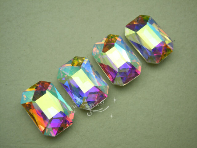 72 PCS 18mm x 27mm Glass AB Faceted Glass Rectangle Jewels
