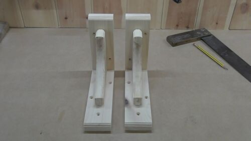 Pine Arch Wooden Shelf Support Brackets 165 mm x 200 mm Pair Of Solid Wood