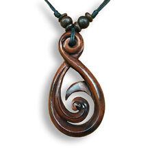Halskette Anhänger Holz Kette Maori Koru Design N113