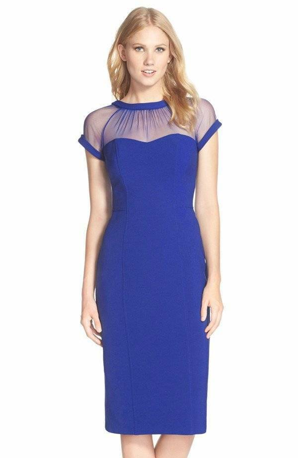 Maggy London Illusion Yoke Crepe Sheath Dress bluee 8P  148