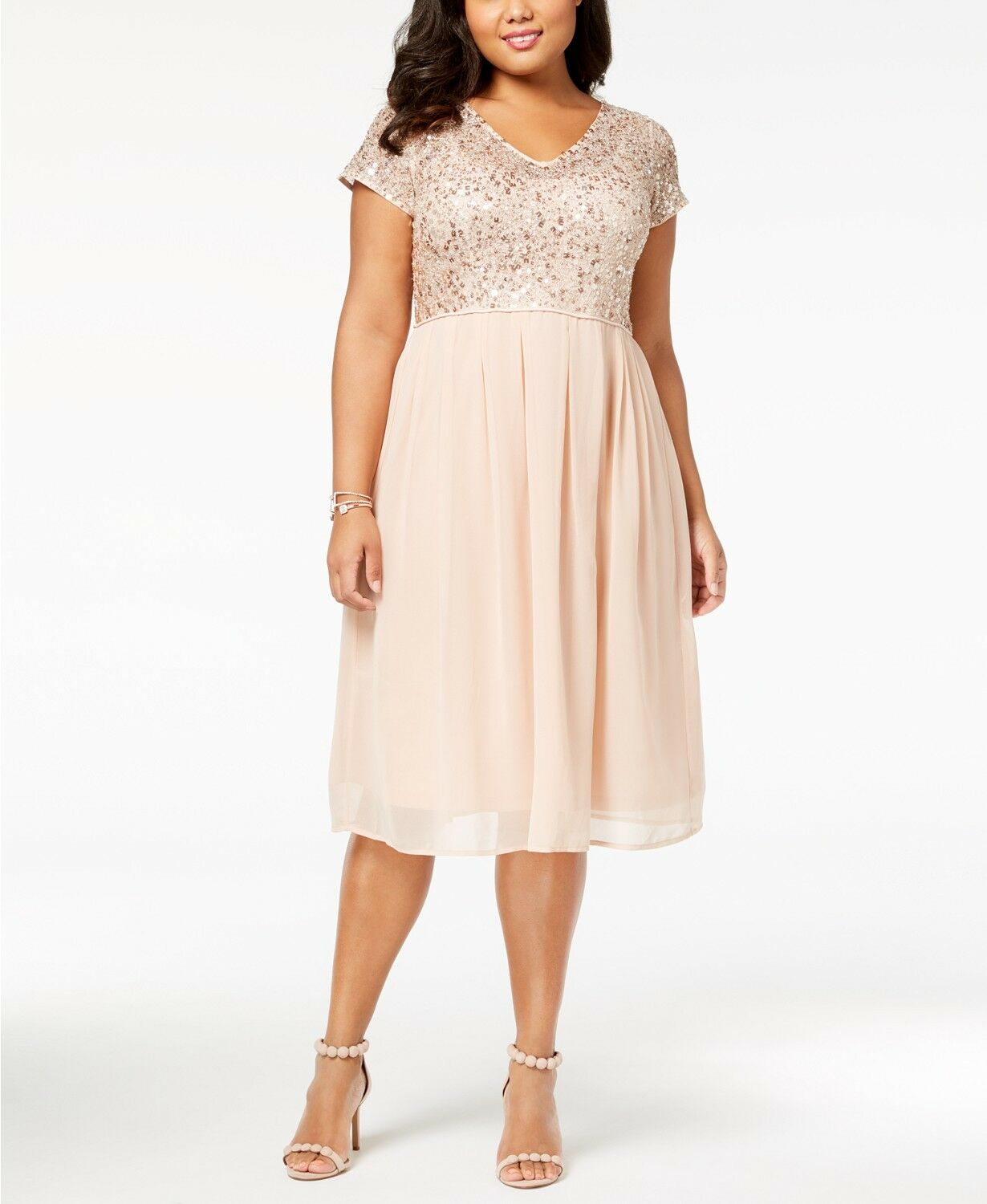 339 ADRIANNA PAPELL Womens PINK Plus-Size Beaded A-Line TEA-LENGTH DRESS 14W