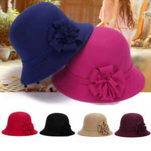 9a19a4320e0 Elegant Women Winter Wool Hat Ladies Round Brim Cap Formal Bowler ...