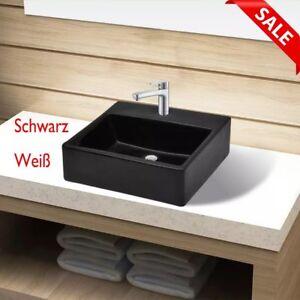 Details zu Keramik Waschbecken Küche badezimmer Hahnloch Waschtisch  Waschschale Schwarz Neu