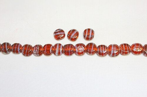 Lamp Work Swirl with Luster Finish 144 Beads Coin Glass beads 10-11 mm