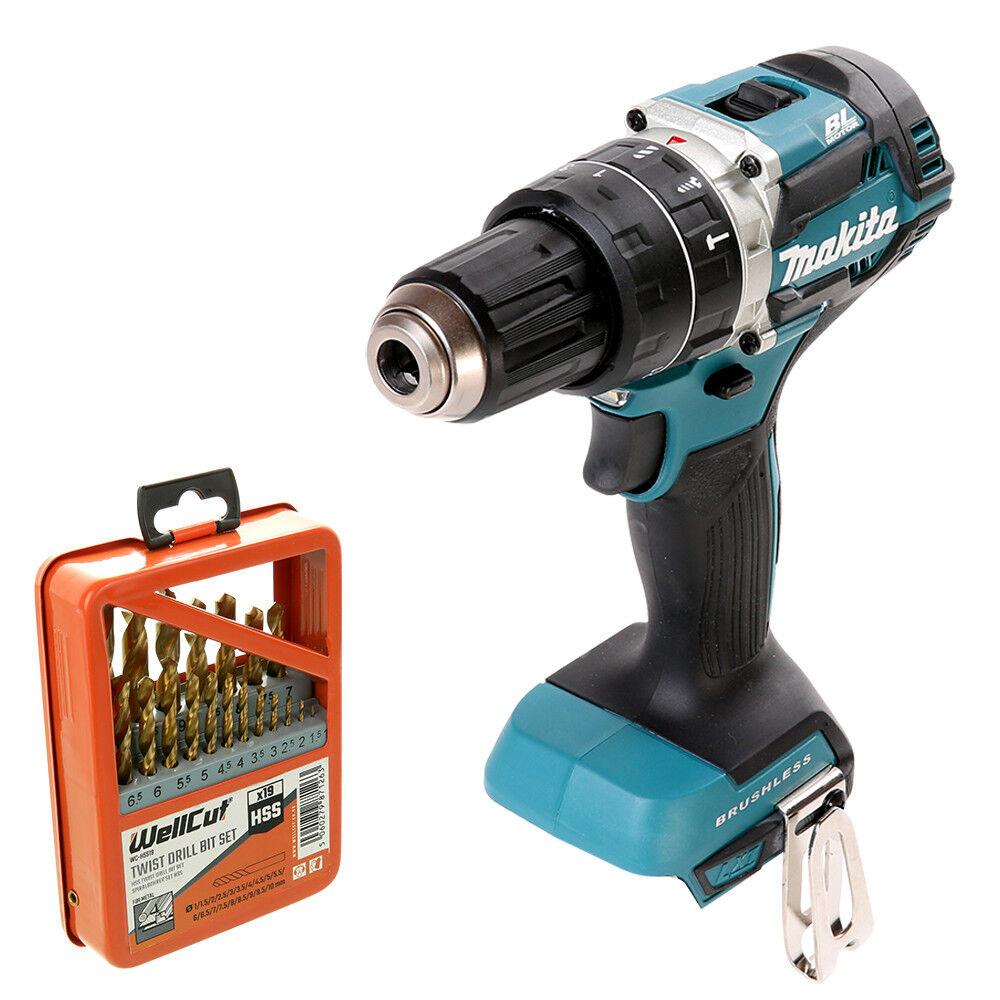 Makita DHP484 18v Brushless Combi Drill With 19 Piece HSS Twist Drill Bit Set