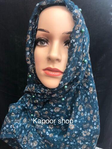 Scarves Glitter Paisley border side Pearl Shimmer Hijab Printed Scarf Abaya Wrap