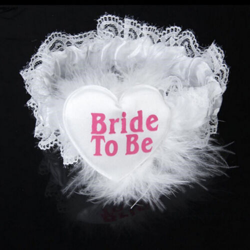Lace Garter Bride To Be Heart Badge Fluffy Feather for Bachelorette Party PipRI