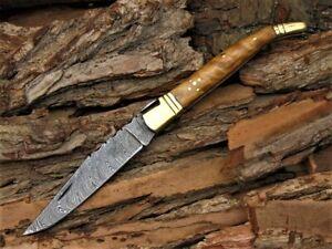 Damast Taschenmesser Damascus Folding knife Damast Ohne Leder Scheide 616EA