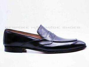 Mocassins et chaussures à enfiler en cuir noir véritable faits à la main pour