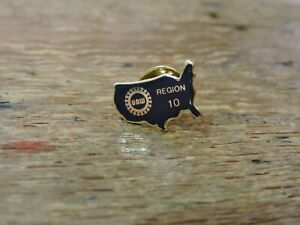 Vintage-Blue-Enamel-Gold-Trim-GT-UAW-United-Auto-Workers-USA-Region-10-Lapel-Pin