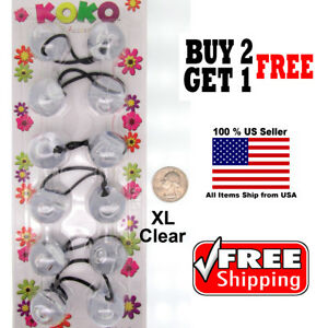 Clear-Braid-Girls-Scrunchie-Jumbo-XL-Beads-Hair-Tie-Ball-Ponytail-Holder-Band