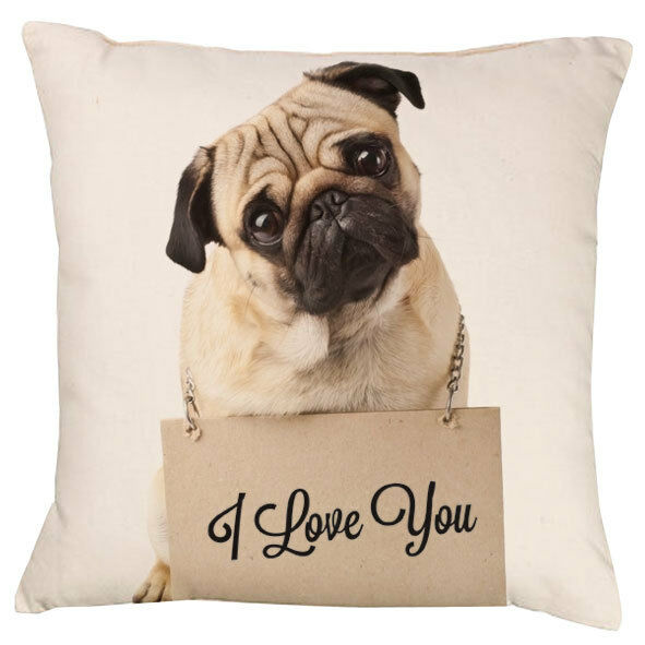 Pug Love You Cushion | Add your own text choice | Gift | Personalised | Cute Dog