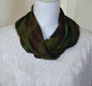Silk-Soft-Green-Black-Multi-Color-Tie-and-Dye-Scarf