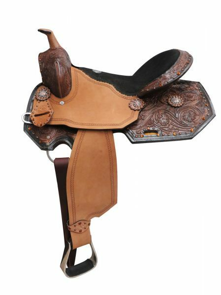 Double T  barrel style saddle with amber colord rhinestones and floral too 16