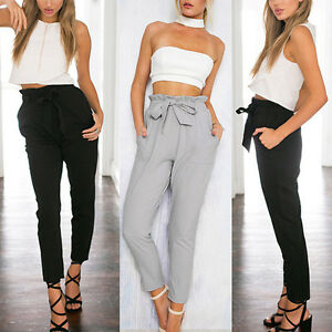Womens-Ladies-Elastic-High-Waist-Harem-Casual-Chiffon-Trousers-Loose-Long-Pants