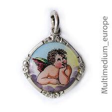 Silber Anhänger Engel Emaille Gott schütze dich silver pendant angel enamel