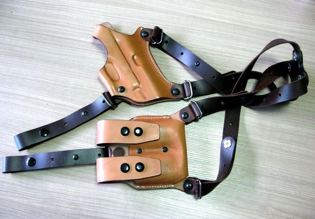 Funda de hombro horizontal Cool cuero tostado para GLOCK 19 y doble bolsa del Mag