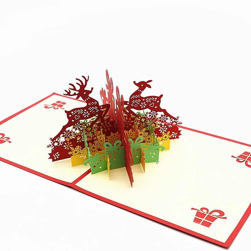 3D Pop Up Holiday Greeting Card Deer Trailer  Reindeer Christmas Thanksgiving HI