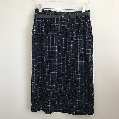 Size 12 Vintage Evan-picone Women's Navy W/ White Dotted Detail Belted Skirt Women's Clothing Skirts