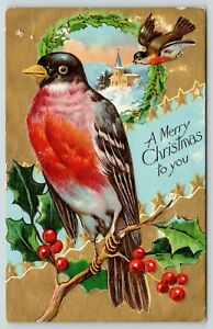 Christmas-Close-Up-Red-Breasted-Bird-on-Holly-Berry-Branch-Gold-Back-Embossed