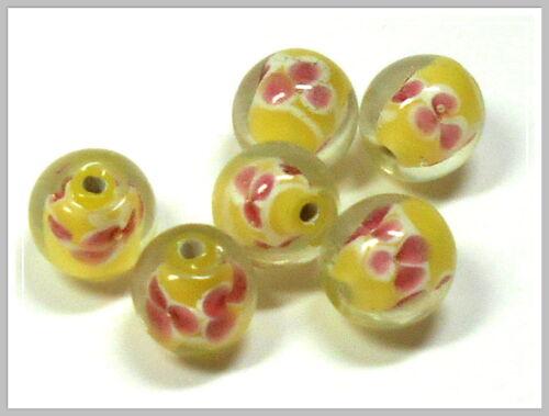 6 Lampwork perles environ jaune 12mm lampworkperlen