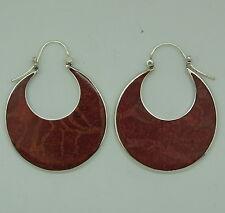 z Designer Red Coral Gemstone Hoop Earrings in 925 Sterling Silver - Handmade