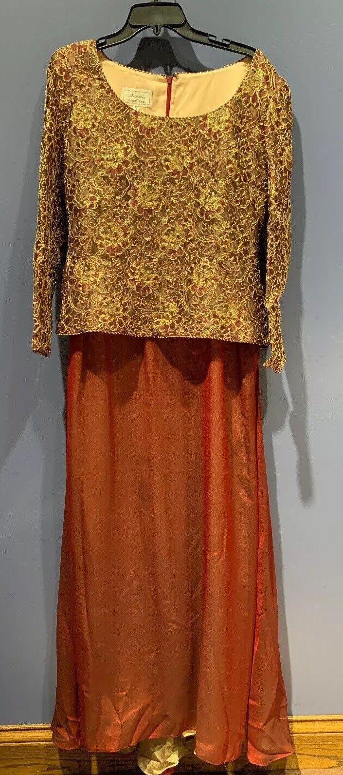 De Colección Victor Costa para nahdree oro  de vino, irisado, Full Length Vestido Con Cola 12  barato
