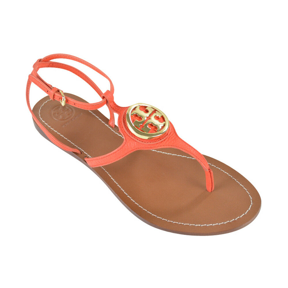 NIB Tory Burch LETICIA Flat Thong Leather Sandals Poppy Red 9.5