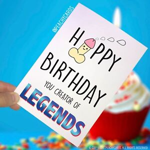 Image Is Loading Funny Happy Birthday Card Creator Legends Dad Joke