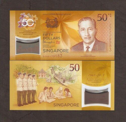 2017 Singapore /& Brunei 50 AA /& E//1 1st $50 CIA SET COMMEMORATIVE POLYMER UNC