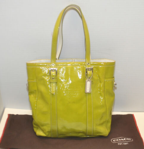Coach Patent Leather Gallery Lunch Tote Bag Lime G