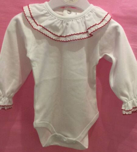 Traditional Spanish Large Frill Collar Vest 1-18 Month white trims  detailing LS