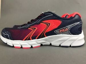 c4077accb117 Fila Running Lightweight Mesh Coral Navy Shoes Cool Max Cushioning ...