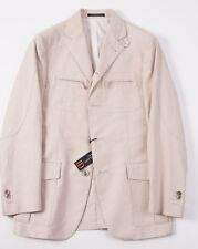 NWT $1375 CORNELIANI ID Beige Cotton-Linen Blazer 36 R Removable Vest Sport Coat