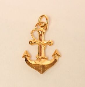 22k 22kt solid gold anchor pendant 32 eBay
