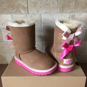 b11a955ebcc Details about UGG SHORT BAILEY BOW CHESTNUT PINK AZALEA SUEDE BOOTS SIZE 11  TODDLERS GIRLS KID