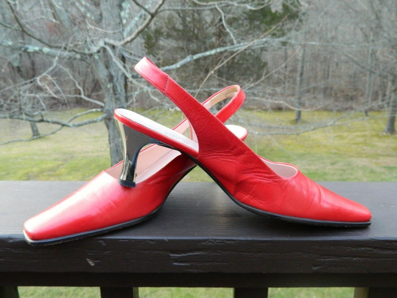 Escada True Red Leather Sling Back Pump Shoes w/silver heel, US size 7, EUC