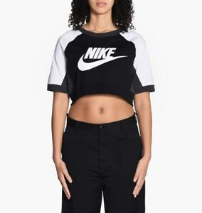 1977468f Details about Nike Cropped Logo Top Black White S T-Shirt Gym Casual  Training Running New