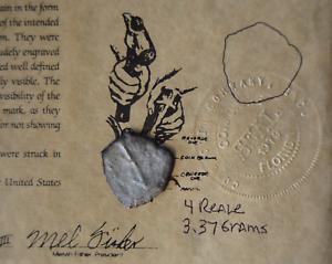 1715 Fleet Mexico Silver Cob 4 Reale Shipwreck Coin,Mel Fisher Cobb Co. COA #349