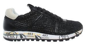 Scarpe-Donna-Sneakers-PREMIATA-Lucy-D-3663-Pelle-Tessuto-Tecnico-Tela-Nero-Nuove