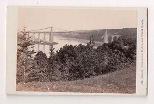 Vintage-CDV-Bangor-Suspension-Bridge-Menai-Straits-Wales-F-Bedford-Photo
