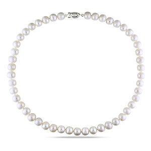 White Cultured Freshwater Pearl Pendant Necklace 9-10 mm