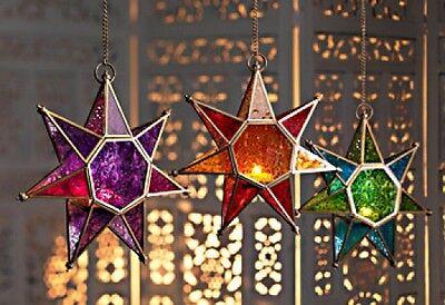 Gorgeous Moroccan Style Star Glass Hanging Lantern.  Fair Trade