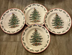 Spode-Christmas-Tree-Holly-Set-of-4-Dinner-Plates-10-5-New-with-Tags-Red-Rim