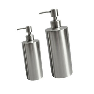 Set Of 2 Soap Lotion Dispenser Pump Countertops Brushed Stainless