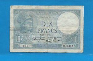 10 Francs Bleu ( Minerve ) Du 28-11-1940 H.80497 Wadl3r5a-07224202-149445104